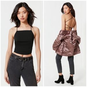 67795c7d8b8 Urban Outfitters Tops | Black Braided Strappy Back Backless Tank Top ...